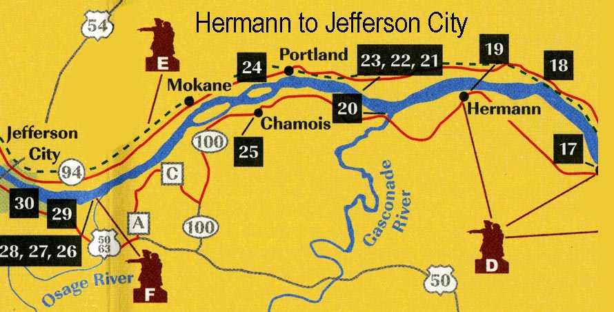 Map of area from Hermann to Jefferson City